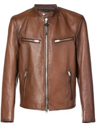 Coach Racer Leather Jacket Brown