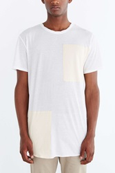 Feathers Bold Blocked Long Scoop Neck Tee White