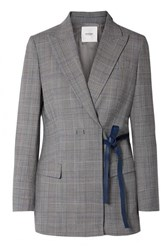 Agnona Leather Trimmed Checked Twill Blazer Gray