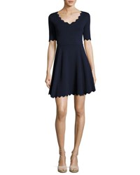 Milly Scalloped Half Sleeve Fit And Flare Dress Navy