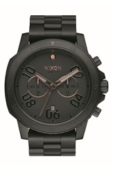 Nixon 'Ranger' Chronograph Bracelet Watch 44Mm Black Rose Gold
