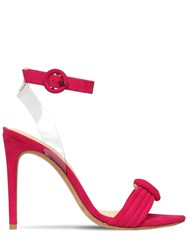Alexandre Birman 100Mm Vicky Suede And Plexi Sandals Fuchsia