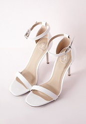 Missguided Barely There Strappy Heeled Sandals White Croc White