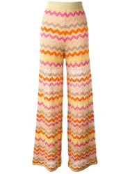 M Missoni Zig Zag Pattern Trousers Nude Neutrals