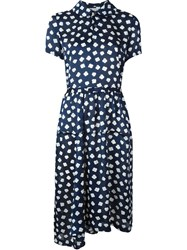 Comme Des Gara Ons Vintage Floral Print Shirt Dress Blue