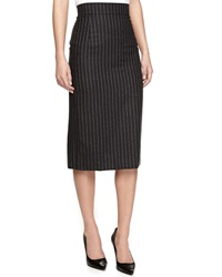 Oscar De La Renta Pinstripe Pencil Skirt Charcoal