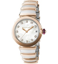 Bulgari Lvcea 18Ct Pink Gold Stainless Steel And Diamond Watch