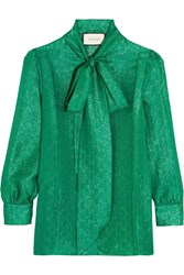 Gucci Pussy Bow Metallic Silk Blend Jacquard Blouse Jade