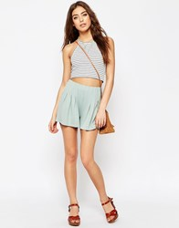 Asos Pleated Culotte Shorts Mint