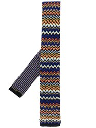 Missoni Knitted Patterned Tie Blue