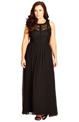 Plus Size Women's City Chic Paneled Lace Bodice Gown Black