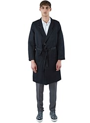 Emiliano Rinaldi Linen Twill Gown Coat Black