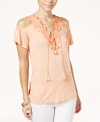 Jessica Simpson Lace Up Cold Shoulder Top Coral