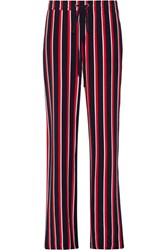 Markus Lupfer Agnes Striped Silk Chiffon Wide Leg Pants Red