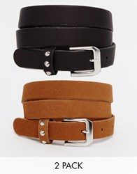Asos Leather 2 Pack Studded Keeper Belts Multi