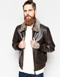 Schott Leather Jacket With Faux Fur Collar Brown