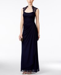 Xscape Evenings X By Xscape Stand Collar Illusion Back Gown Navy