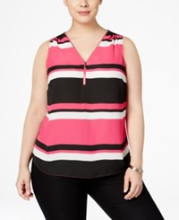 Inc International Concepts Plus Size Front Zip Striped Blouse Only At Macy's Power Stripe