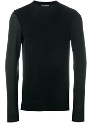 Dolce And Gabbana Contrast Panel Jumper Black