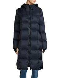 Michael Michael Kors Long Hooded Puffer Coat Navy