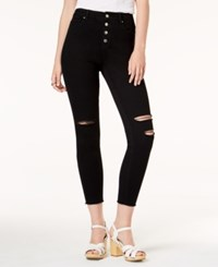 Tinseltown Juniors' Ripped Button Fly Skinny Jeans Black