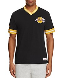 Mitchell And Ness Los Angeles Lakers Vintage V Neck Tee Black