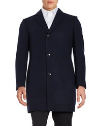 Black Brown Wool And Cashmere Coat Navy