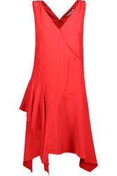 Derek Lam 10 Crosby By Asymmetric Ruffled Silk Dress Red