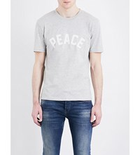 Sandro Peace Slogan Pure Cotton T Shirt Mocked Grey