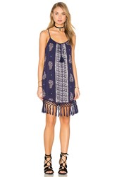 Band Of Gypsies Sleeveless Scoop Neck Fringe Hem Dress Blue