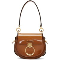 Chloe Brown Patent Small Tess Bag