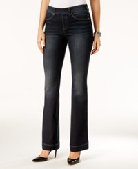 Inc International Concepts Curvy Pull On Dark Blue Wash Flared Jeans Only At Macy's Indigo