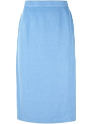 Louis Feraud Vintage Classic Pencil Skirt Blue