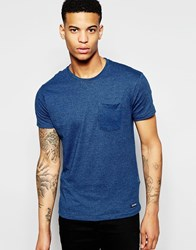 Pull And Bear Pullandbear T Shirt With Crew Neck In Pique Blue