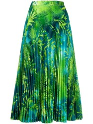 Versace Jungle Print Pleated Midi Skirt Green