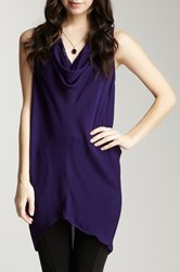 Zoa Cowl Neck Silk Tunic Tank Purple