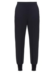 Stella Mccartney Julia Cotton Crepe Trousers Navy