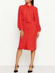 Joseph Billy Tie Neck Shirt Dress Orange