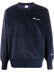 Champion Ribbed Logo Sweatshirt Blue
