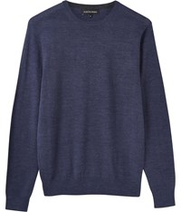 Austin Reed Merino Navy Marl Crew Neck Jumper Blue