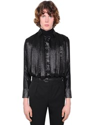 Saint Laurent Pleated Silk Blend Crepe Shirt Black