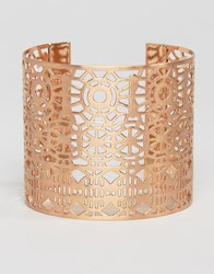 Pilgrim Cut Out Detail Chunky Cuff Bracelet Rose Gold