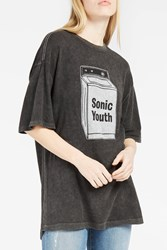 R 13 R13 Women S Sonic Youth Print Oversized T Shirt Boutique1 Black