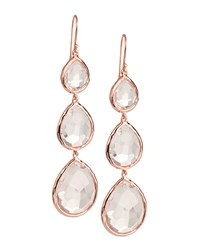 Triple Drop Rose Earrings Clear Quartz Rose Gold Ippolita