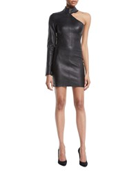 Rta Lulu One Sleeve Fitted Lambskin Leather Mini Dress Black