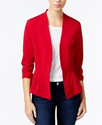 Amy Byer Bcx Juniors' Ruched Sleeve Open Front Blazer Scarlet