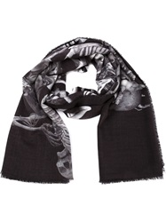 Lost And Found Skeletons Print Scarf Black