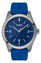 Hugo Automatic Silicone Strap Watch 40Mm Blue