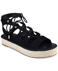 G By Guess Keeny Lace Up Platform Espadrille Sandals Women's Shoes Black