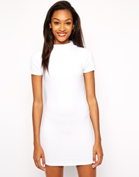 Daisy Street Ribbed Bodycon Dress With High Neck White